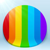 Rainbow stripes 3d plastic vector circle — Stock Vector