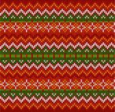 シームレス パターンをニット ジグザグの赤のストライプのベクトル — ストックベクタ