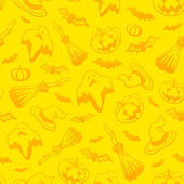 Yellow vector Halloween seamless pattern — Stock Vector