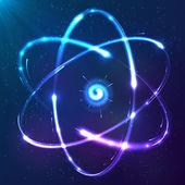 Shining atom vector neon scheme — Stock Vector