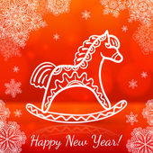 Red new year card with white paper horse — Stock Vector