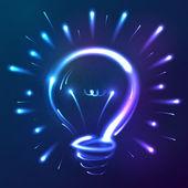 明るい青いネオン抽象的な電球 — ストックベクタ