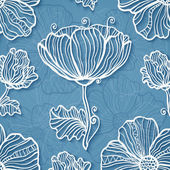 Ornate blue cutout paper floral vector background — Stock Vector