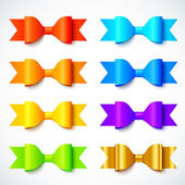 Rainbow colors bright vector paper bows set — Stock Vector