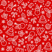 Red christmas seamless pattern in cartoon style — Stock Vector