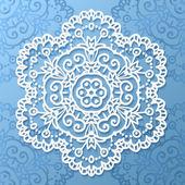 Ornate lacy white vector paper napkin — Cтоковый вектор