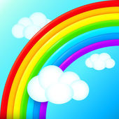 Vibrant vector rainbow in sky with white clouds — Stock Vector