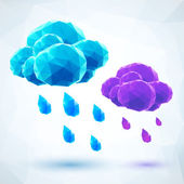 Abstract triangles rainy vector clouds — Stock Vector