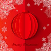 Red origami paper vector Christmas ball — Stock Vector