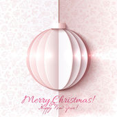 White and pink paper vector Christmas ball — Stock Vector