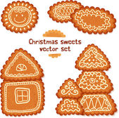 Ornate Christmas sweets vector set — Stock Vector