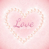 Light pink ornate background with pearly heart — Stock Vector