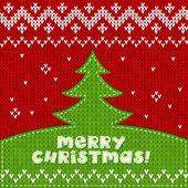 Fondo verde árbol de Navidad hecho punto apliques — Vector de stock