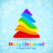 Rainbow colors stripes plastic Christmas tree — Stock Vector #33235711