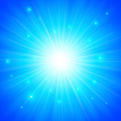 Modré pozadí zářící slunce vektor — Stock vektor