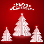 White paper Christmas trees on red background — 图库矢量图片