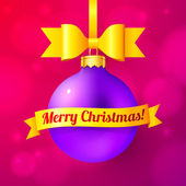 Violet Christmas ball with yellow ribbon and sign — Stock Vector
