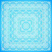 Ornate lacy blue and white vector ornament — Stockvector