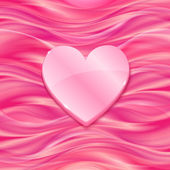 Pink glossy heart on silky background — Stock Vector