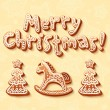 Merry Christmas gingerbread sign, horse and trees — Imagen vectorial