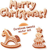Merry Christmas gingerbread sign, horse and trees — Stock Vector
