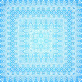 Ornate lacy blue and white vector ornament — Stok Vektör