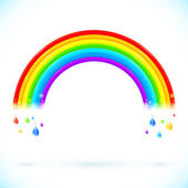 Bright isolated vector rainbows with color drops — Stock Vector