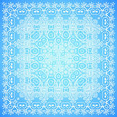 Ornate lacy blue and white vector ornament — Cтоковый вектор