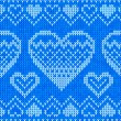 Blue knitted hearts vector seamless pattern — 图库矢量图片