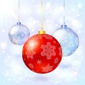 červená vektor skleněné vánoční koule s sněhové vločky — Stock vektor