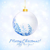 Blue and white Christmas ball with floral ornament — Stock Vector
