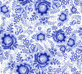 Blue floral textile vector seamless pattern — Stock Vector