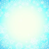 Blue snowy blurred background with bokeh effect — Stock Vector