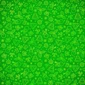 Gröna utsmyckade julen symboler seamless mönster — Stockvektor