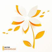 Orange paper flower greeting card template — Stock Vector