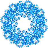 Abstract floral vector circle in gzhel style — Stock Vector