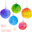 Watercolor painted hand drawn Christmas balls — Stock Vector