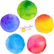 Stock Vector: Colorful isolated watercolor paint circles