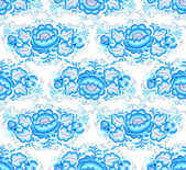 Lacy blue floral vector seamless pattern — Stock Vector