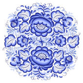 Ornate blue and white floral circle — Stock Vector