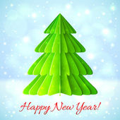 Green paper Christmas tree on blue background — Stock Vector