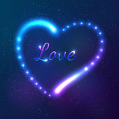 Shining cosmic neon heart with sign Love — Stock vektor