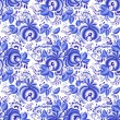 Ornate blue and white floral seamless pattern — Stock Vector
