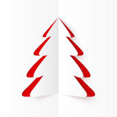 White and red cutout paper Christmas tree — Vettoriale Stock
