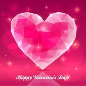 сердце розовый прозрачный кристалл — Cтоковый вектор