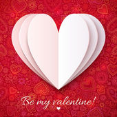 White paper heart on red ornate background — Vector de stock