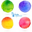 Vector watercolor circle splashes set — Stock Vector