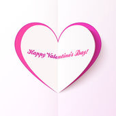 Pink cutout heart, Valentine's day greeting card — Stock Vector