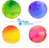 Vector watercolor circle splashes set — Stock Vector