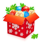 Big red box of Christmas balls — Vettoriale Stock